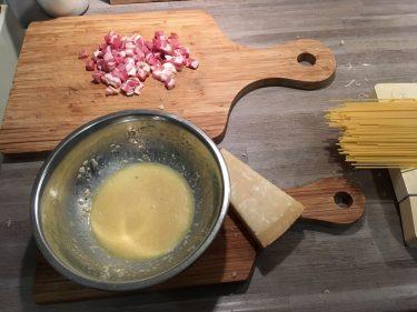 Ingrediënten pasta carbonara